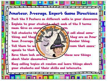 Amateur Average Expert Back to School Get to Know You Move Around Game