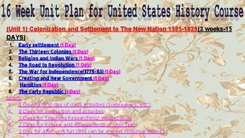 Amazing 16 Week Unit Plan for United States History