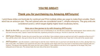 Amazing ANTonyms: A Fun Way to Practice Opposites