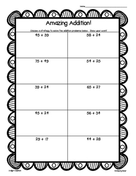 Amazing Addition!  2 and 3 digit addition--leveled practice worksheets