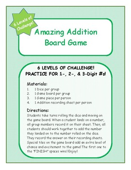 Amazing Addition Board Game- Differentiated! 6 Levels of Challenge!