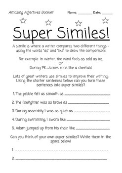 Amazing Adjectives! Literacy Center Activity Pack