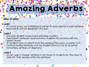 Amazing Adverbs - Differentiated Literacy Activity Centre / Game