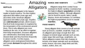 Amazing Alligators Editable Comprehension Passage