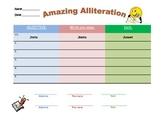 Amazing Alliteration worksheet w/lesson plan