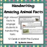 Amazing Animal Facts - Fun handwriting practice cards - NSW Pre-Cursive