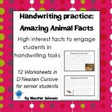 Amazing Animal Facts: Senior Handwriting Worksheet Set in D'Nealian Cursive