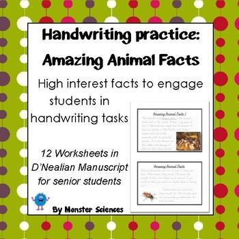 Amazing Animal Facts Senior Handwriting Worksheet Set In Dnealian
