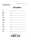 Amazing Animals - Journeys 1st Grade- ABC Order