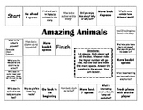 """Amazing Animals"" Comprehension Game Board- Journeys story 1st grade"