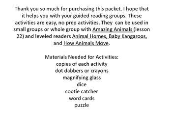 Amazing Animals Guided Reading Activities Journeys Unit 5