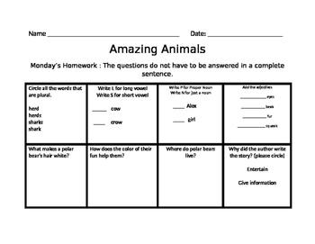 Amazing Animals Homework Common Core Journeys