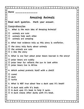 Amazing Animals Journeys Assessment