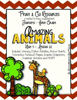 Amazing Animals - Journeys First Grade Print and Go