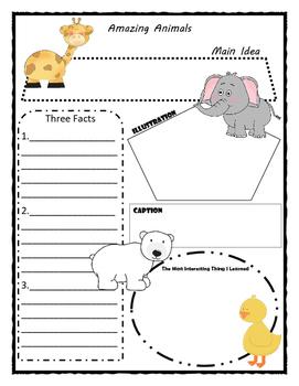 Amazing Animals Story Map - Graphic Organizer