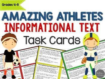 Amazing Athletes Informational Text Task Cards for Grades 4-8