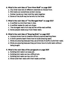 Amazing Bird Nests - Main Idea Story Questions
