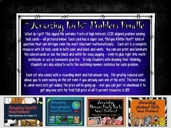 """Amazing Facts"" Problem Solving Task Card Bundle"