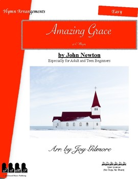 Amazing Grace: Hymn Arr. for adult and teen beginners Very easy (Free Version)