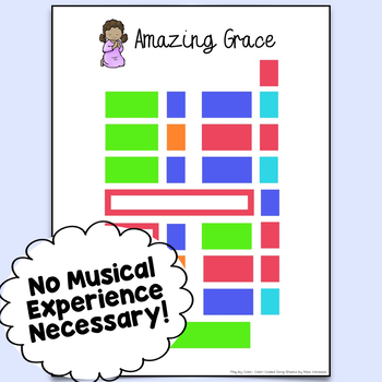 Amazing Grace Easy-To-Play Color-Coded Song Sheet