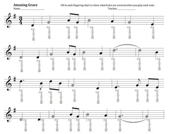Amazing Grace- Recorder Fingering Practice