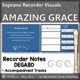 Soprano Recorder Song ~ Amazing Grace Interactive Visuals {Notes DEGABD}