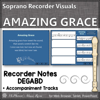 Amazing Grace – Recorder PowerPoint Visuals (Notes DEGABD)
