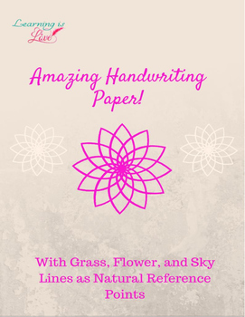 Handwriting Paper with Sky, Flower, and Grass Guide Lines