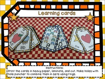 Letters, numbers, and shapes learning cards.