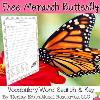 Amazing Monarch Butterfly Nonfiction Vocabulary Word Search and Key No Prep