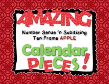 Amazing Number Sense and Subitizing Calendar Pieces--Ten Frames Apple Set