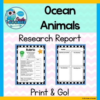 Research Report - Amazing Ocean Animals (No Prep)