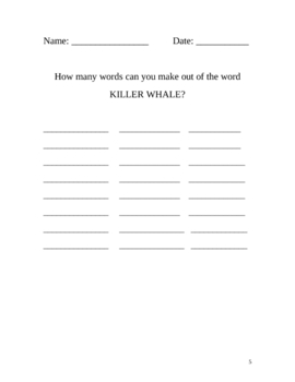 Amazing Orcas Interesting Facts - lesson plan