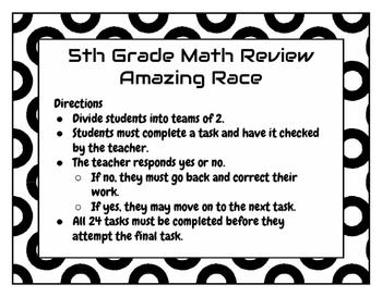 Amazing Race 5th Grade ELA Language Arts Review Game