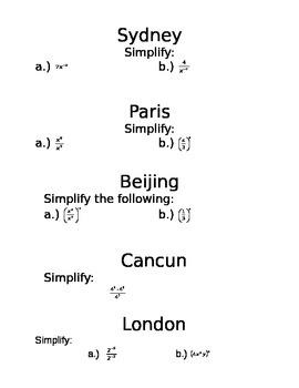 Amazing Race Algebra Activity Laws of Exponents