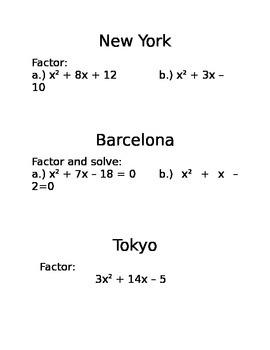 Amazing Race Quadratics - Factoring/Solving