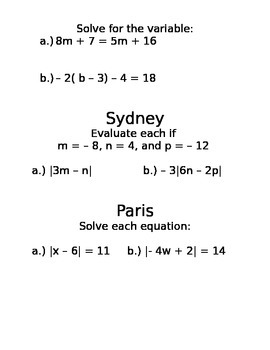 Amazing Race Solving Equations