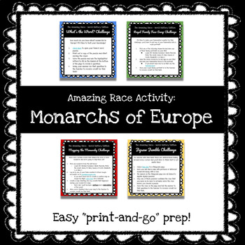 Amazing Race Style Monarchs of Europe (World History) Game