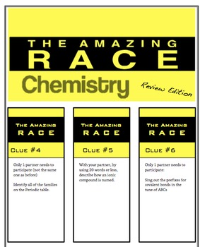 Amazing Race review activity - science chemistry unit template
