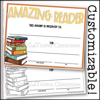 Amazing Reader Award- Editable!