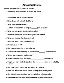 Amazing Sharks Comprehension Questions