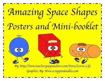 3 Dimensional- Space Shapes Posters and Minibooklet FREEBI