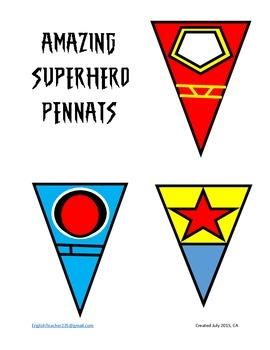 Amazing Superhero Pennants Color fill