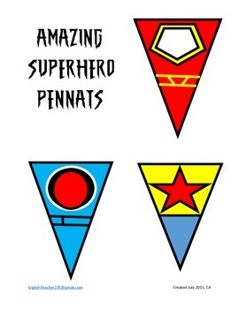 Amazing Superhero Pennants Color fill