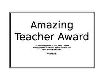 Amazing Teacher Award Ceriticate