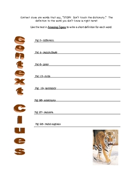 Amazing Tigers by Sarah L. Thomson (Context Clues)