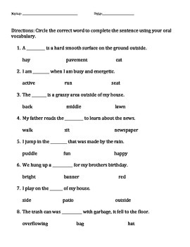 Amazing Vocabulary Test for Reading Street Unit R Week 3 T