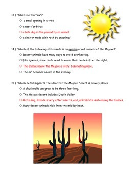 McGraw Hill Wonders - Amazing Wildlife of the Mojave Comprehension Activity