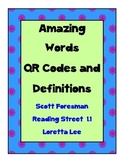 Amazing Words QR codes and Definitions for Scott Foresman Unit 1 Reading Street