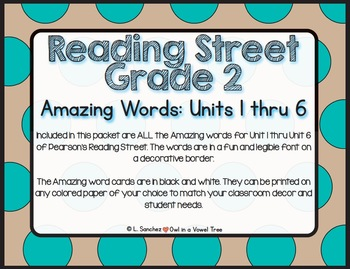 EDITABLE Amazing Words- Reading Street- 2nd Grade- Black and White